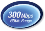 300 Mbps with a range of up to 600 ft.